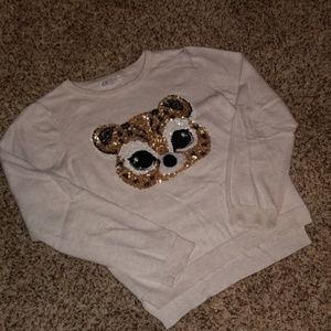 Girls H&M Sequin Cheetah Sweater